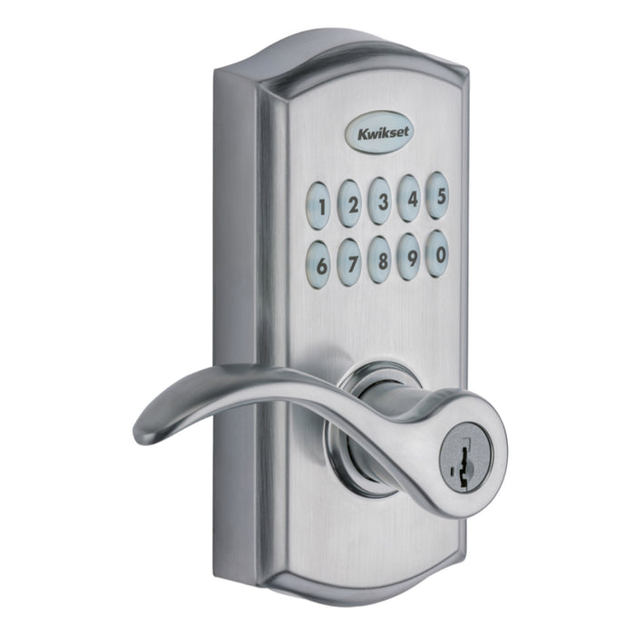 Kwikset 99550-001 SmartCode 955 Electronic Touch Pad Entry Lever, Satin Chrome
