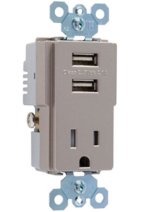 Legrand TM8USBNICCV4 Radiant Combo Receptacle & USB Charger, 15 Amps, 125 Volts