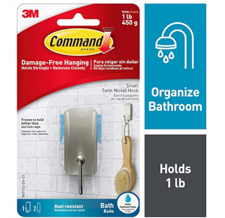 3M BATH33-SN-ES Command Adhesive Hook, Satin Nickel, Metal, Silver