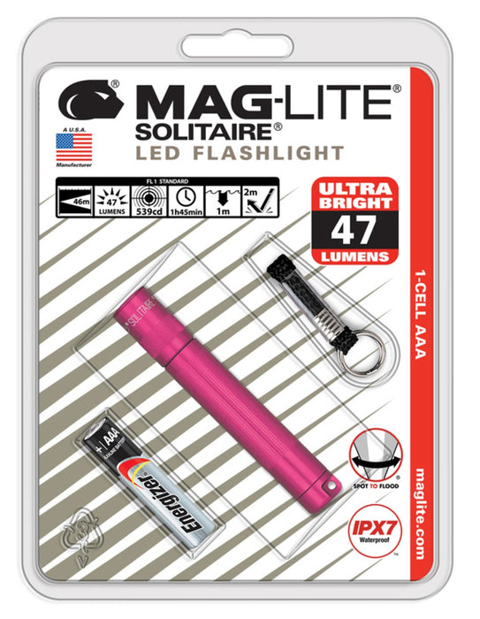 Maglite SJ3AKY6 Solitaire LED Flashlight With Key Ring, Pink, 47 Lumens
