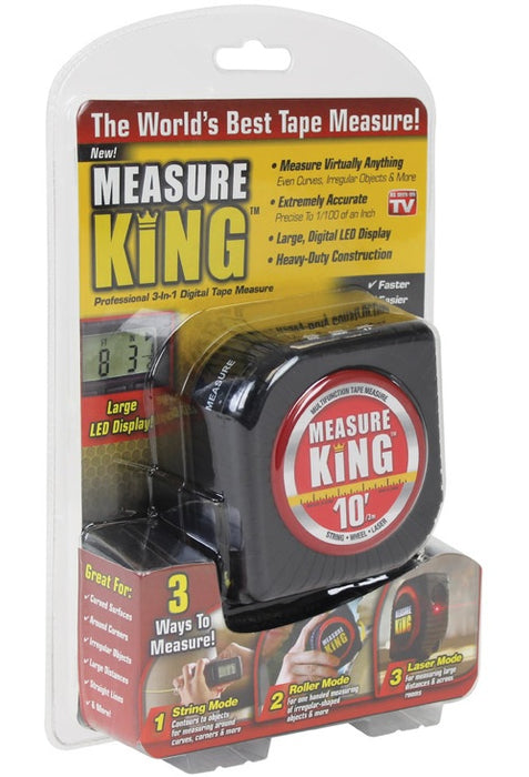 Measure King MK-MC12/4 As Seen On TV 3-In-1 Digital Measure Tape, Black