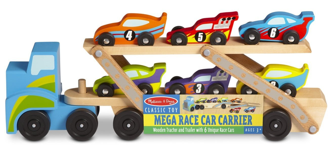 Melissa & Doug 2759 Classic Toy Mega Race Car Carrier, Assorted Color