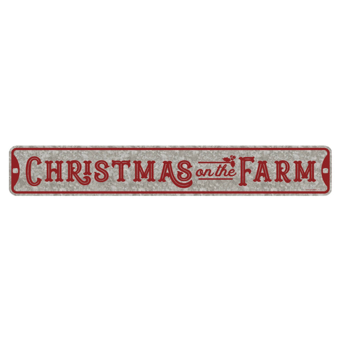Open Road Brands 90179078 Christmas On The Farm Sign, Grey/Red