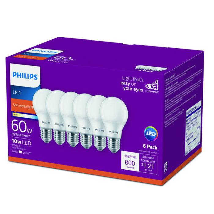 Philips 469205 A19 LED Light Bulb, Soft White, 2700K