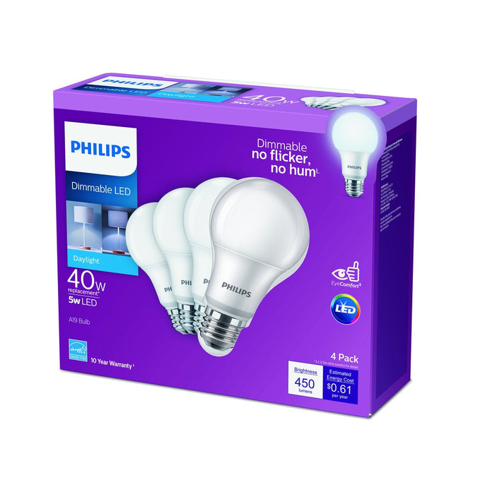 Philips 549766 A-Line A19 LED Bulb, Frosted, 40 Watts, 800 Lumens