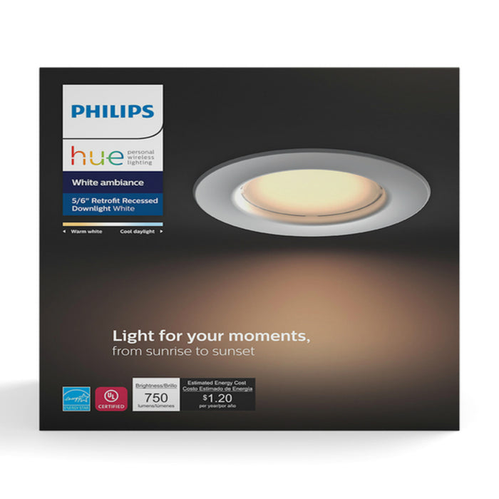 Philips 801506 Hue  LED Dimmable Smart Wireless Recessed Downlight, White
