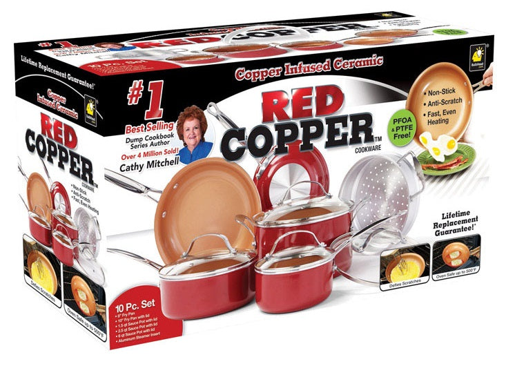 Red Copper 10824 As Seen On TV Cookware Set, Ceramic Copper, 10 Piece