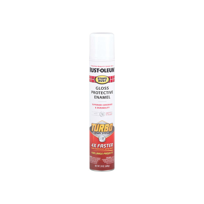 Rust-Oleum 334133 Stops Rust Turbo Spray System Gloss White Spray Paint, 24  Oz