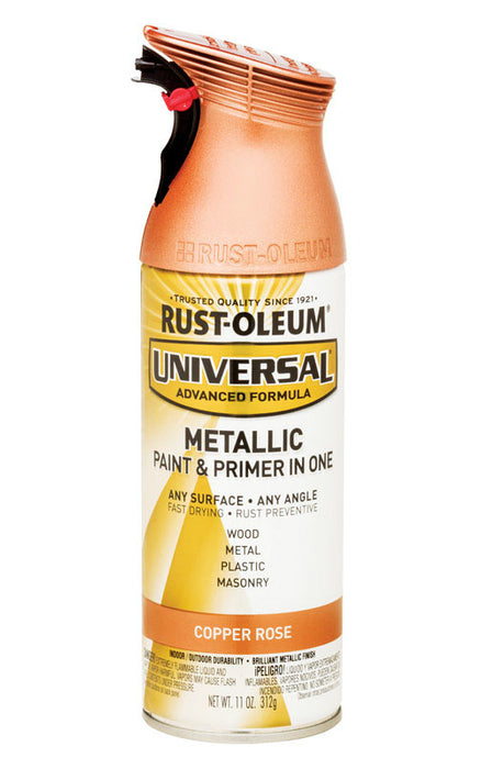 Rust-Oleum 314559 Universal Paint And Primer In One Spray Paint, Metallic,  Copper Rose, 11 Oz