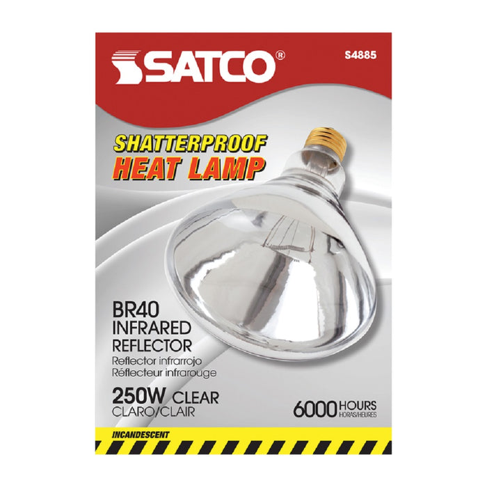 Satco S4885 Heat Lamp Incandescent Bulb, Clear