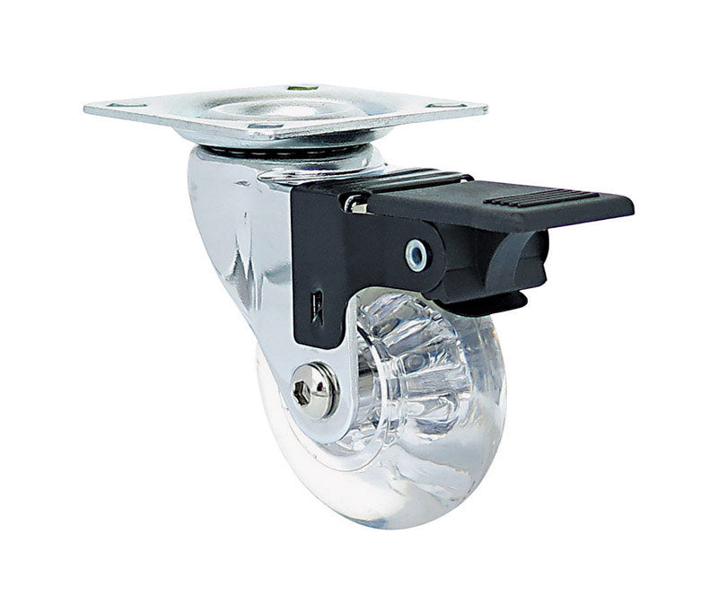 Shepherd Hardware 6279 Swivel Caster With Brakes, Polyurethane, Clear, 2