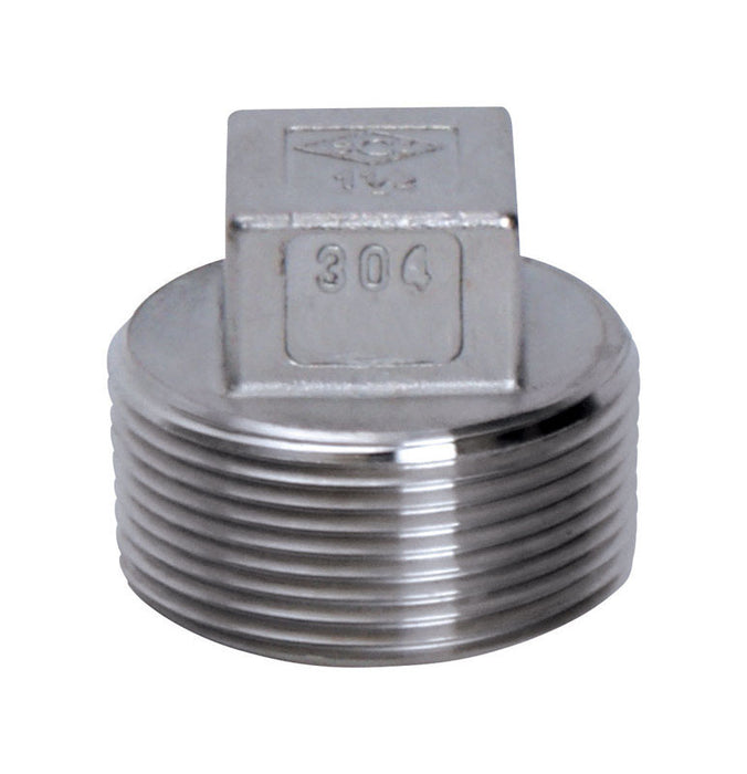 Smith Cooper S3014SP010B Square Head Plug, Stainless Steel, 1