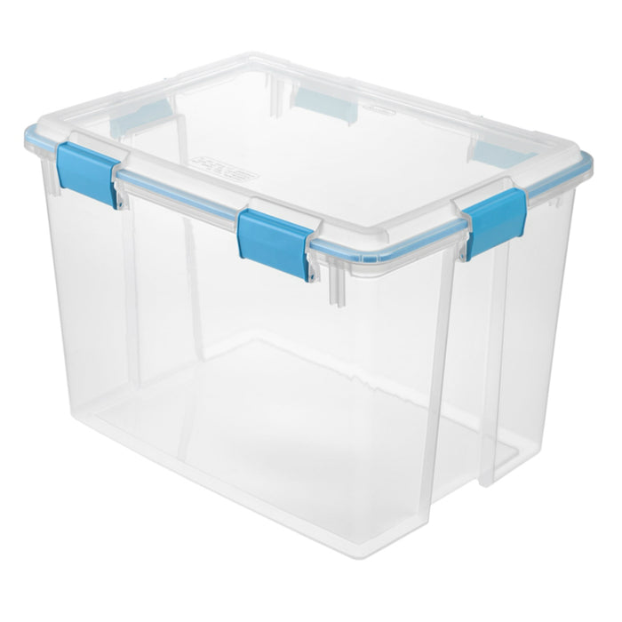 Sterilite 19384304 Storage Bin Clear with Blue Handle, 80 Quart