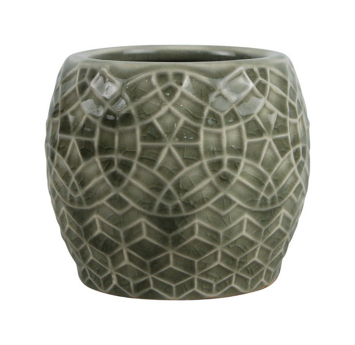Trendspot CC0008N-035H Mediterranean Candle Holder, Ceramic, Crackle Grey, 3.5