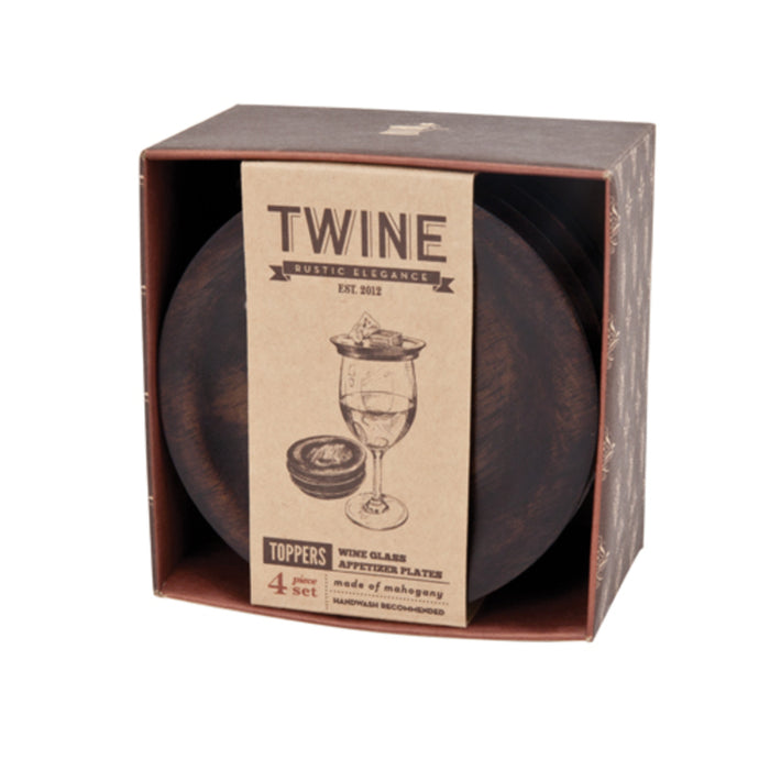 Twine 3072 Wine Glass Topper Plate, Wood, Brown, 4 Pack