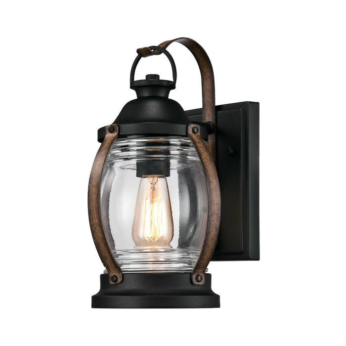 Westinghouse 63351 Canyon 1-Light Outdoor Wall Mount Lantern, Textured Black and Barnwood