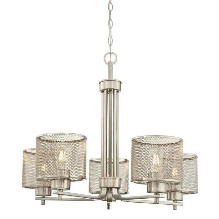 Westinghouse 63275 Morrison 5-Light Chandelier with Mesh Shades, Brushed Nickel