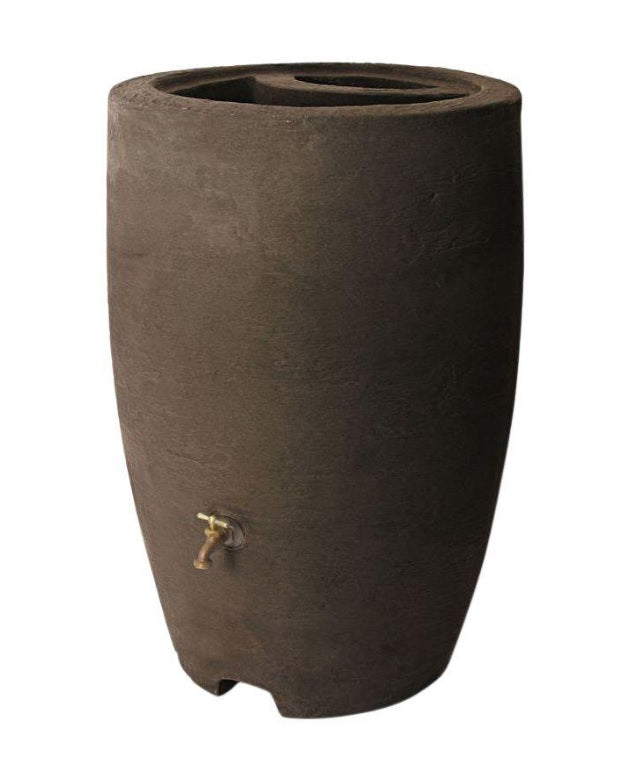 Algreen 86312 Athena Rain Barrel With Brass Spigot, Brownstone, 50 Gallon