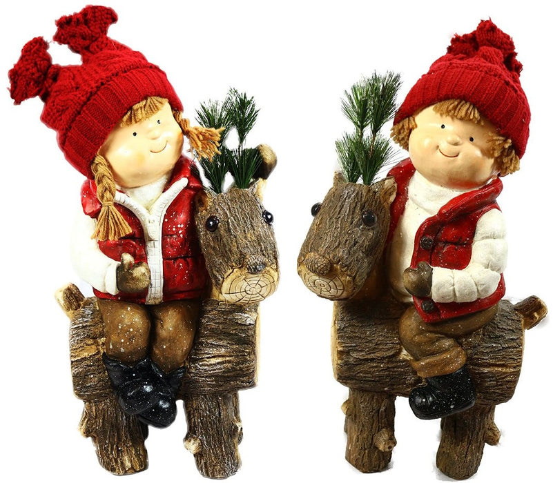 Alpine DXX185AHH Christmas Kids on Reindeer Statue, 10