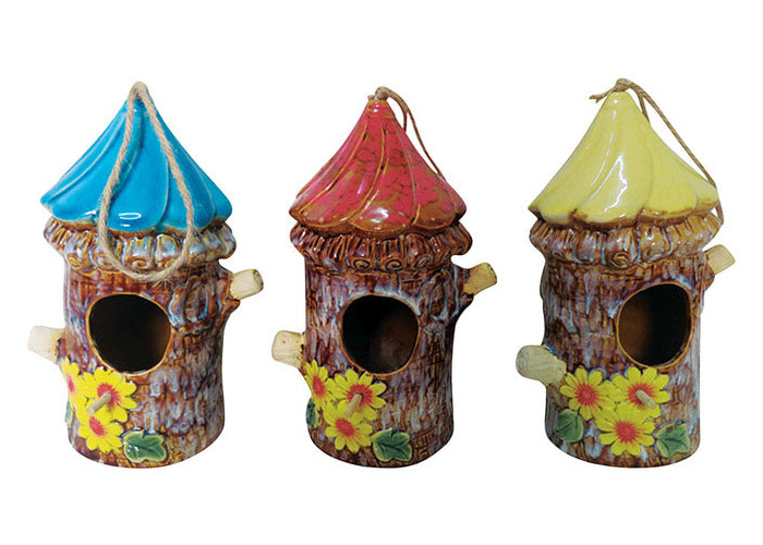 Alpine KLL121BB Ceramic Decorative Birdhouse, Assorted Colors