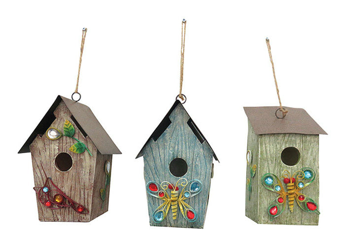Alpine LKP198ABB Decorative Hanging Birdhouse, Metal