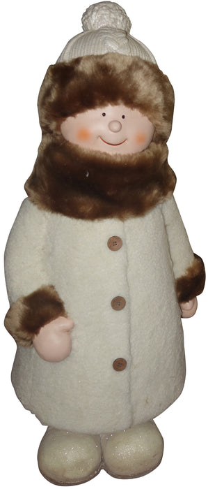 Alpine QWR586 Girl with Coat & Hat Standing Statue, 29