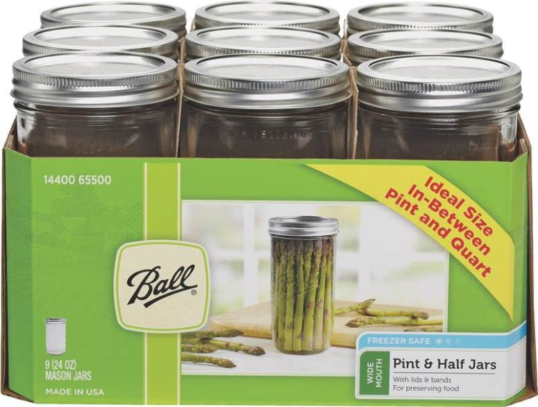 Ball 1440065500 Wide Mouth Mason Jar, 24 Oz