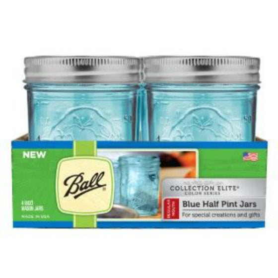 Ball 1440069022 Regular Mouth Elite Collection Mason Jars, Pack of 4, Blue, 8 Oz