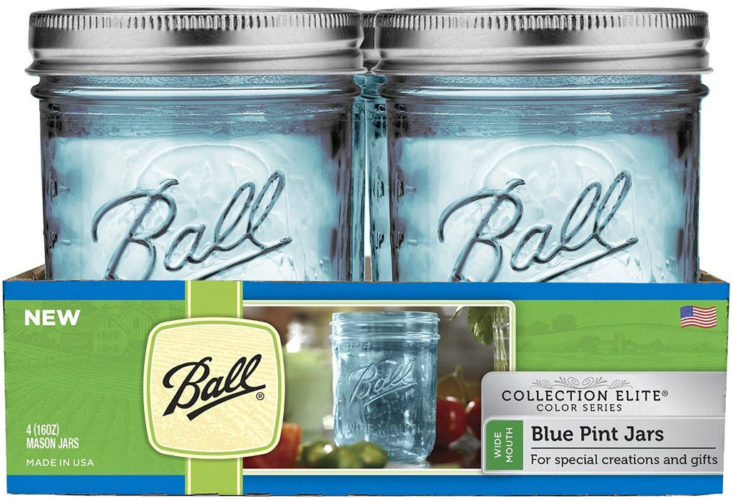 Ball 1440069023 Wide Mouth Elite Collection Mason Jars, Pack of 4, Blue, Pint