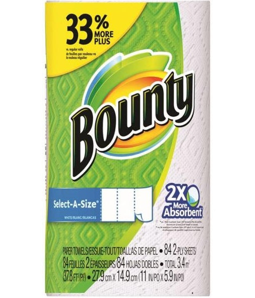 Bounty 3700095019 Select-A-Size Paper Towels, White