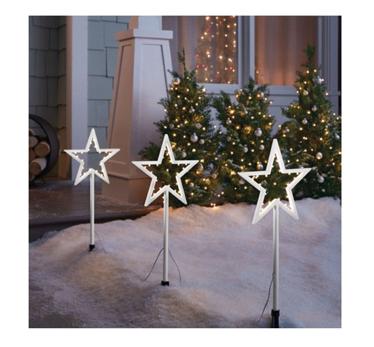 celebrations 23061 71 led star christmas pathway markers white 20 - Led Christmas Pathway Lights