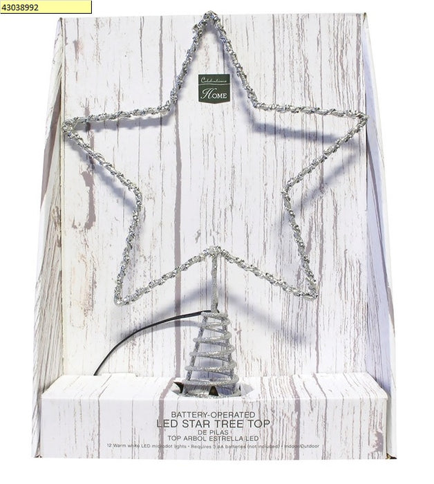 Celebrations 49227-71 Microdot LED Star Christmas Tree Topper, Silver