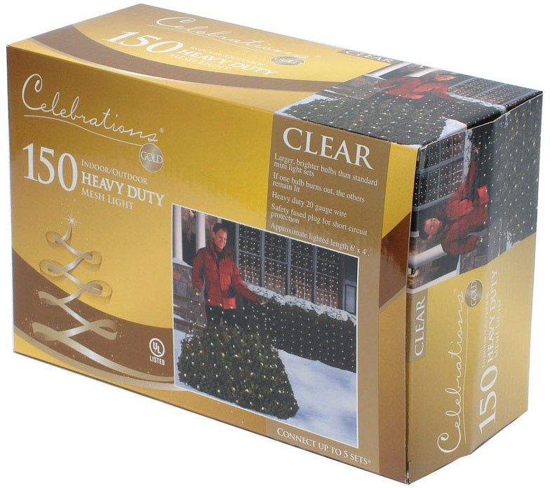 Celebrations L92M4113 Net Light Set, 150 Lights, Clear Bulbs, 4' x 6'