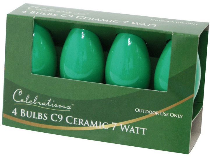 Celebrations UTTYL7A1 C9 Replacement Bulb, 7 W, Ceramic, Green