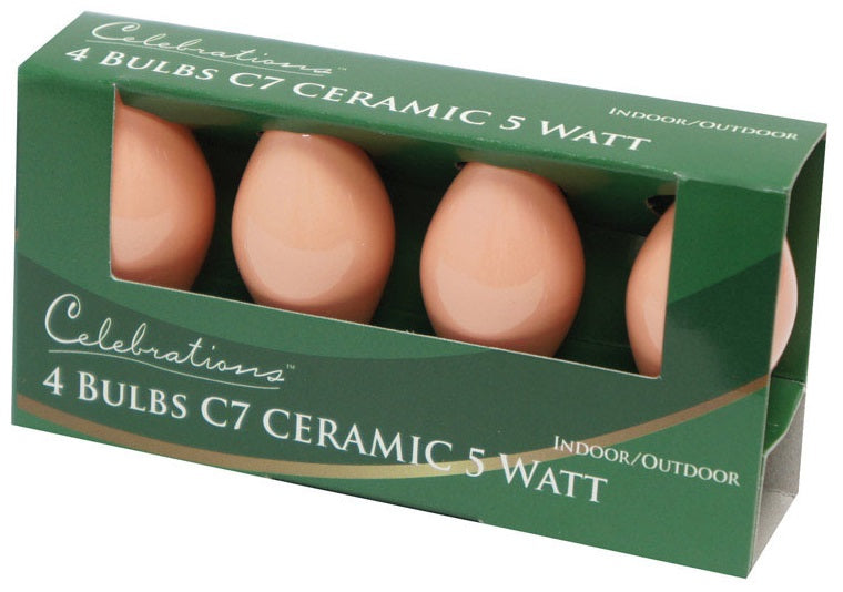 Celebrations UYTYL6A1 C7 Replacement Bulbs, 5 W, Ceramic, Pink