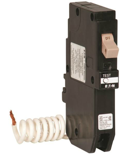 Cutler Hammer CHFGFT115 Ch Series Single Pole GFCI Breaker, Self-Test