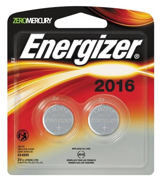 Energizer 2016BP-2 Lithium Button Cell Battery, 3 V
