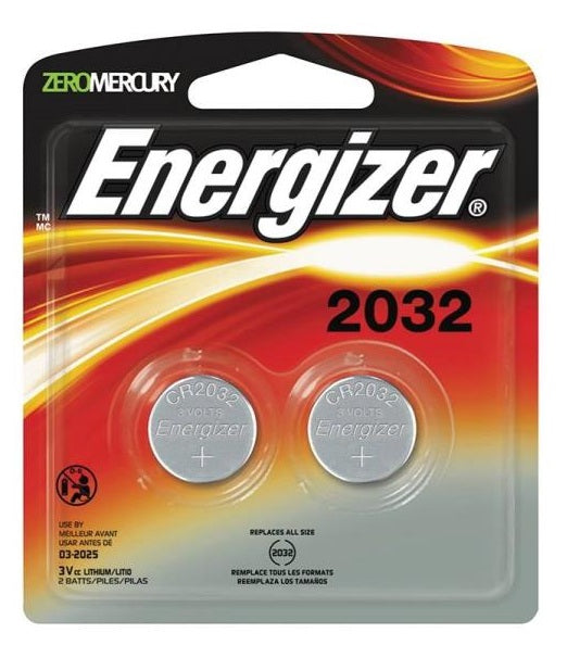 Energizer 2032BP-2 Coin Cell Battery, 3 Volt