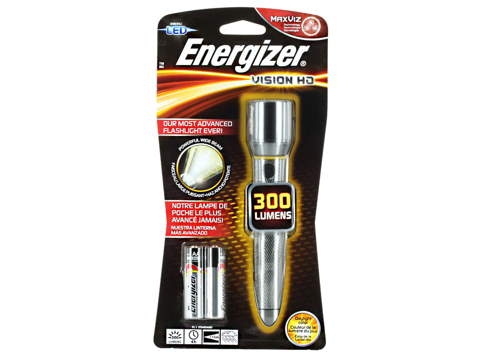 Energizer EPMHH21E Vision HD LED Flashlight, Metallic, 300 lumens