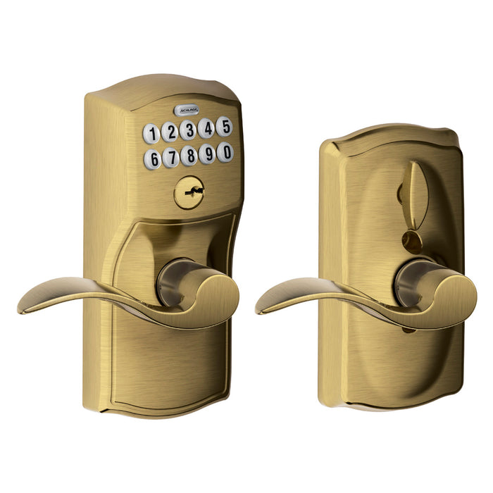 Schlage FE595 CAM ACC 609 Camelot Keypad Entry with Flex-Lock and Accent Levers, Antique Brass
