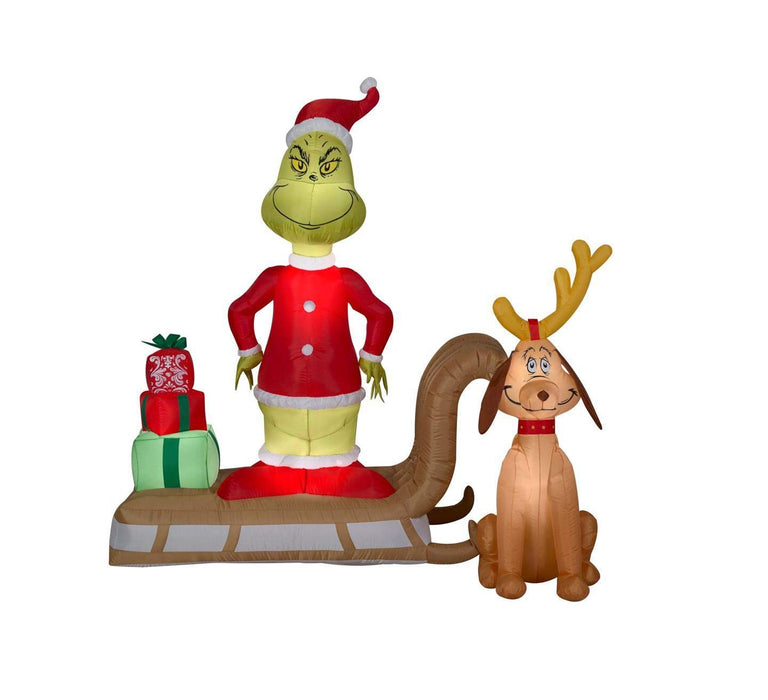 Gemmy 111796 Inflatable Christmas Grinch & Max On Sleigh, Multicolored