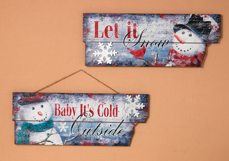Gerson 2164370 Christmas Snowman Sign, Gray, Large