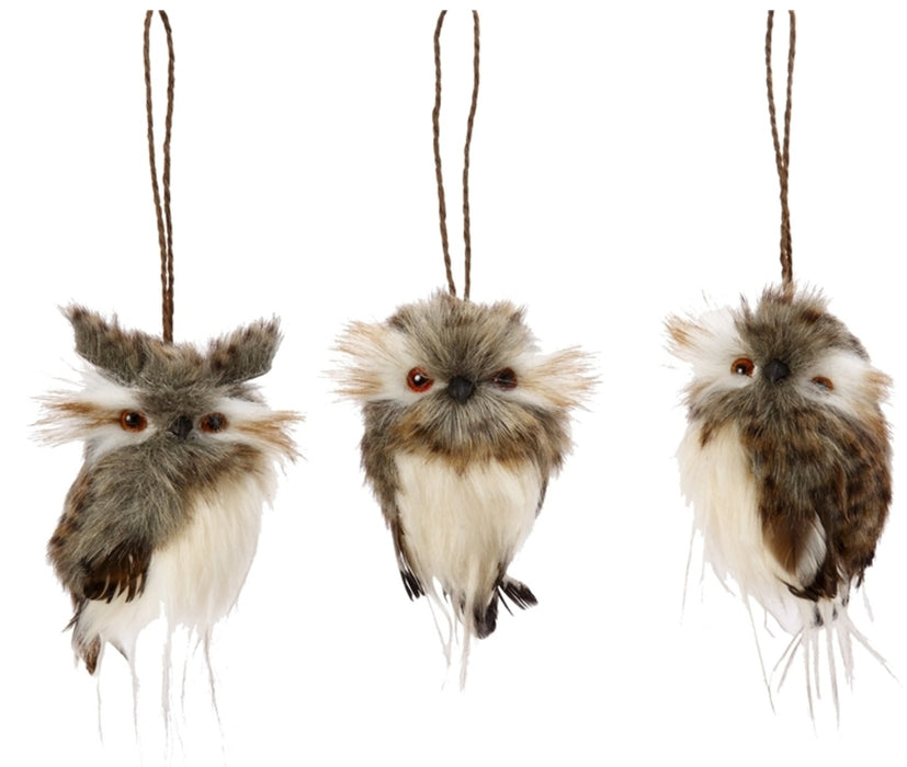 Gerson 2362300 Natural Feather Hanging Owl Christmas Ornament, 4-1/2