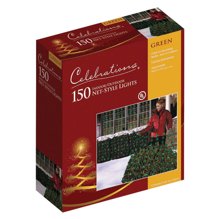 Celebrations 48957-71 Net Light Set, 4' L x 6' W, 150 Green Lights