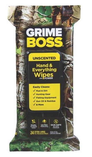 Grime Boss A554s24 Unscented Realtree Hand Wipes, 24 Count