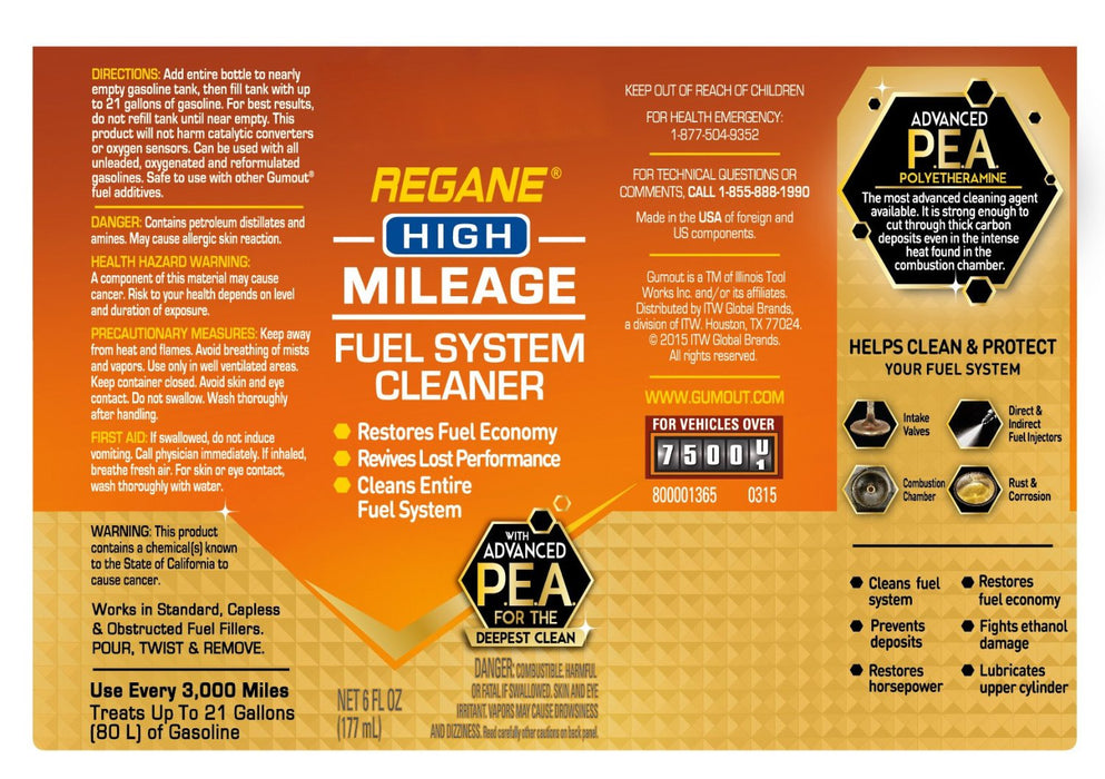 Gumout 800001365 Regane High Mileage Fuel System Cleaner, 6 Oz