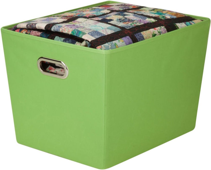 Honey-Can-Do SFT-03076 Decorative Storage Bin With Handles, Green