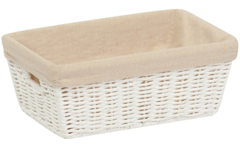 Honey-Can-Do STO-03558 Parchment Cord Basket With Handles & Liner, White