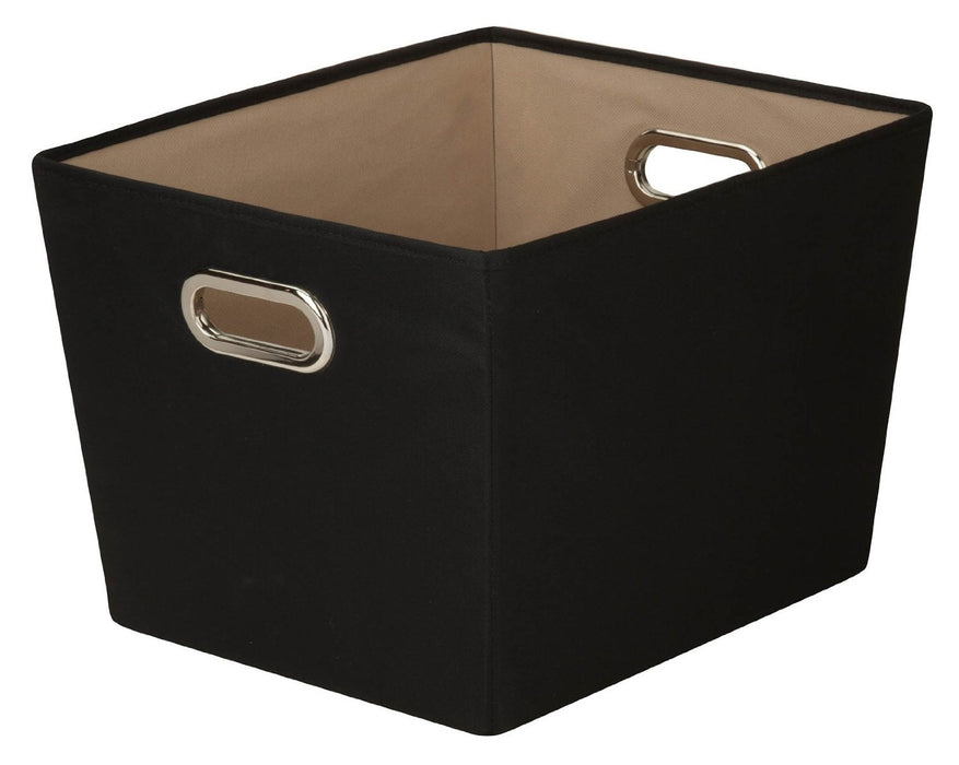 Honey Can Do SFT-03072 Decorative Storage Tote, Black, Medium