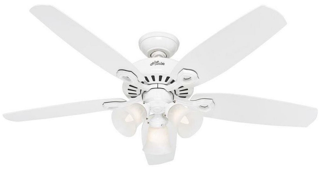"Hunter 53236 Builder Plus Ceiling Fan, 52"", Snow White"